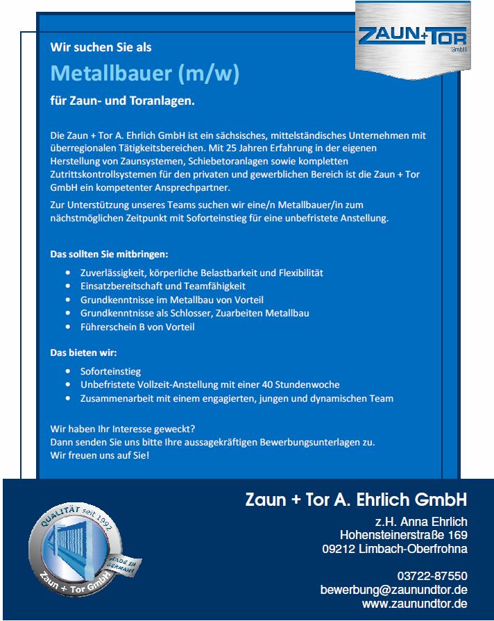 Metallbauer M W Festanstellung Vollzeit Zaun Tor Gmbh